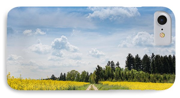 Dirt Road Passing Through Rapeseed IPhone Case by Panoramic Images