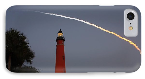 IPhone Case featuring the photograph Discovery Booster Separation Over Ponce Inlet Lighthouse by Paul Rebmann