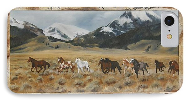 IPhone Case featuring the painting Discovery Horses Framed by Lori Brackett