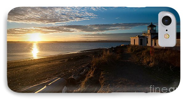 Discovery Park Lighthouse Sunset IPhone Case by Mike Reid