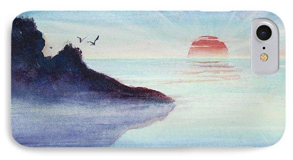 Distant Shoreline Sunrise Watercolor Painting IPhone Case
