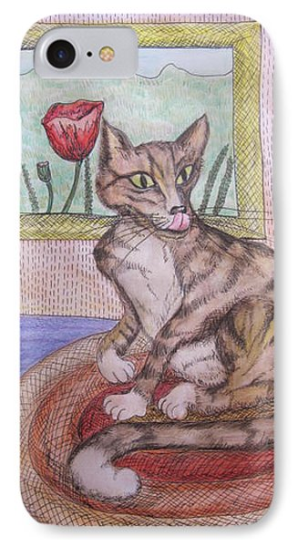 Distracted Cat Phone Case by Cherie Sexsmith