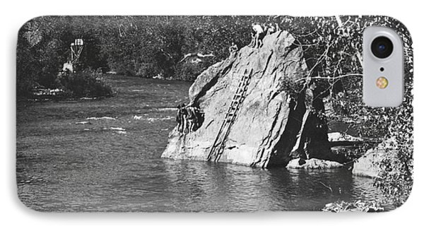 Diving At The Swimming Hole IPhone Case by Underwood Archives