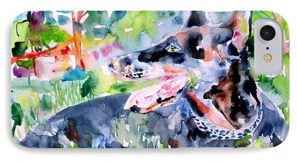 Doberman - Watercolor Portrait IPhone Case by Fabrizio Cassetta