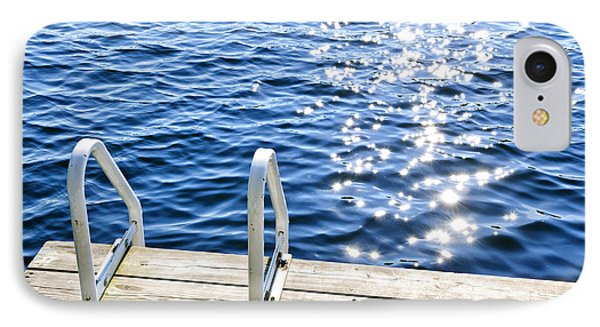 Dock On Summer Lake With Sparkling Water IPhone Case