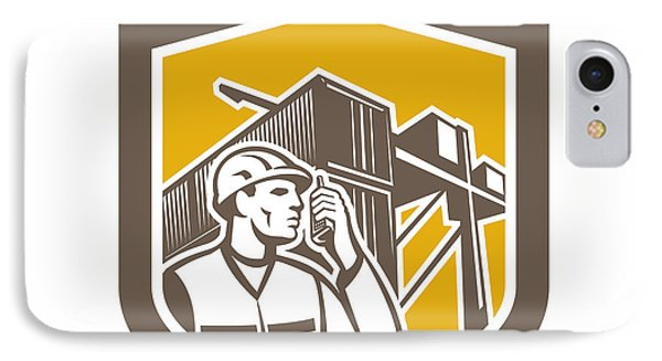Dock Worker On Phone Container Yard Shield Phone Case by Aloysius Patrimonio
