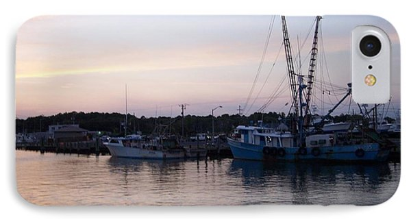 Docked Ships At Sunset IPhone Case by Angelia Hodges Clay