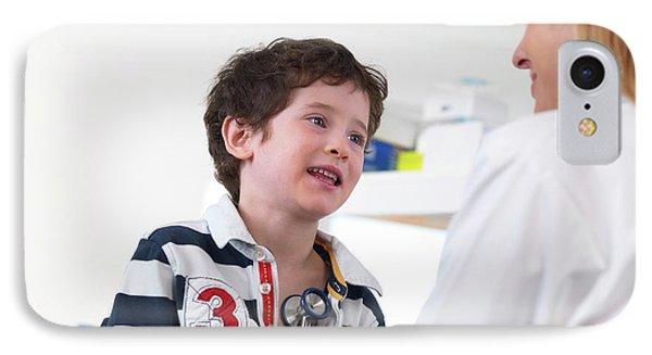 Doctor Examining Child IPhone Case by Tek Image