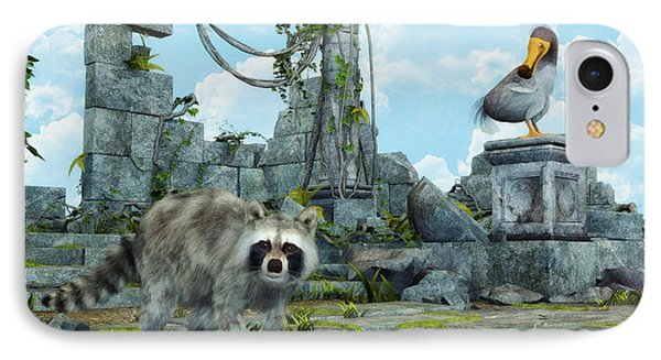 Dodo Meets Raccoon IPhone Case by Jutta Maria Pusl