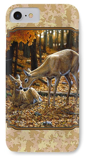 Doe And Fawn Autumn Leaves Pillow And Duvet Cover IPhone Case by Crista Forest