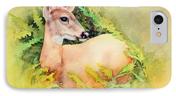 IPhone Case featuring the painting Doe In Ferns by Bonnie Rinier
