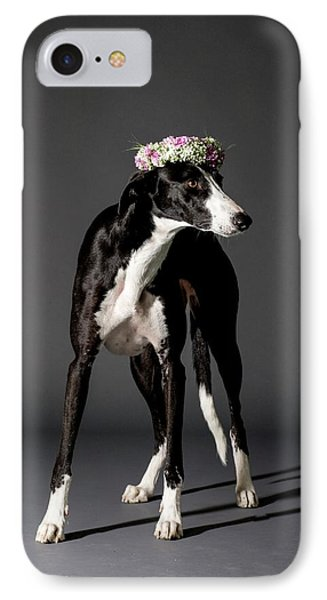 Dog And Flower Wreath IPhone Case by Photostock-israel