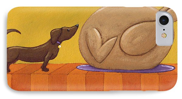 Dog And Turkey IPhone Case by Christy Beckwith