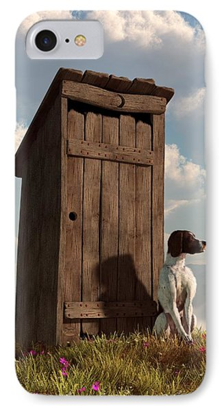 Dog Guarding An Outhouse IPhone Case by Daniel Eskridge
