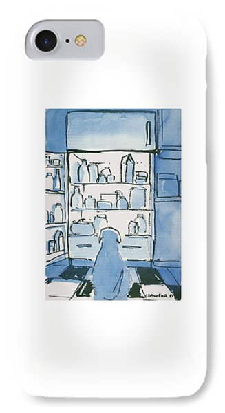 Dog In Front Of An Open Refrigerator IPhone Case by Michael Crawford