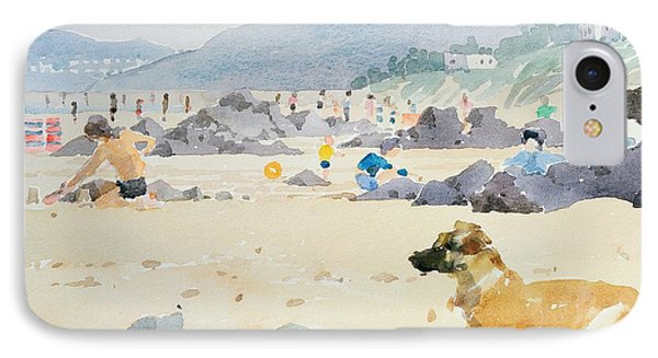 Dog On The Beach Woolacombe Phone Case by Lucy Willis