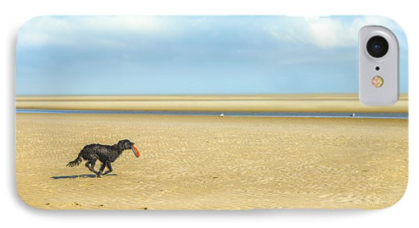 Dog Running On A Beach IPhone Case by Diane Diederich