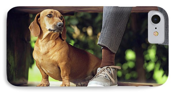 Dog Sitting On Floor Under Table IPhone Case by Ktsdesign