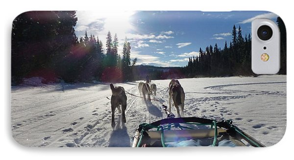 Dog Sledding In The Yukon IPhone Case by Amelia Racca