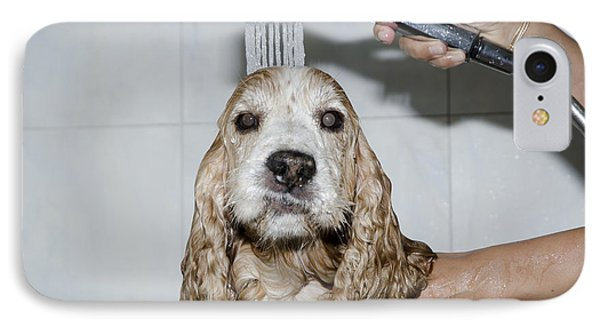 Dog Taking A Shower Phone Case by Mats Silvan