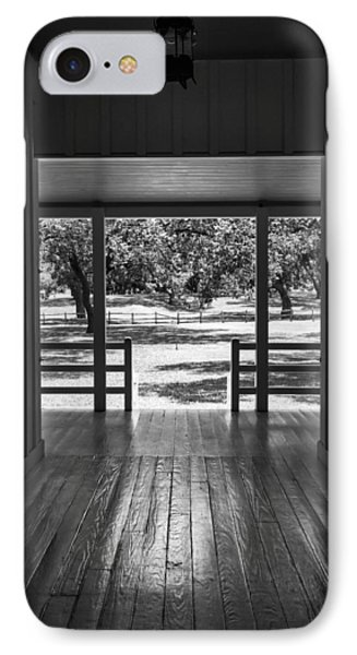 Dog Trot At Lbj Birthplace Bw IPhone Case by Joan Carroll