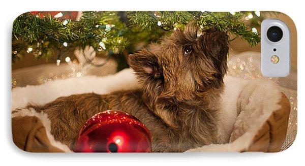 Dog Under Christmas Tree Phone Case by Heidi Marcinik
