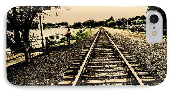 Dog Walk Along The Wayzata Train Tracks Phone Case by Susan Stone