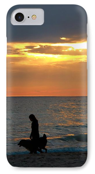 Dog Walk At Sunset On The Beach IPhone Case