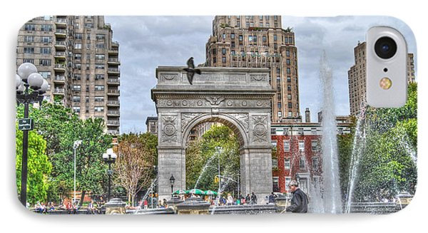 Dog Walking At Washington Square Park Phone Case by Randy Aveille