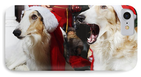 IPhone Case featuring the photograph dogs Borzoi puppies and Christmas greetings by Christian Lagereek
