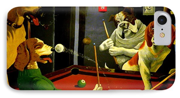 Dogs Playing Pool Wall Art Unknown Painter IPhone Case by Kathy Barney