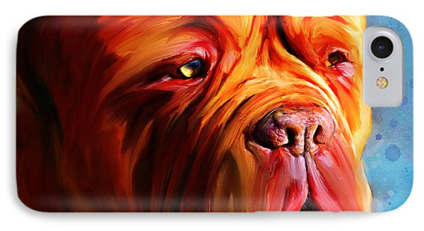 Vibrant Dogue De Bordeaux Painting On Blue Phone Case by Michelle Wrighton