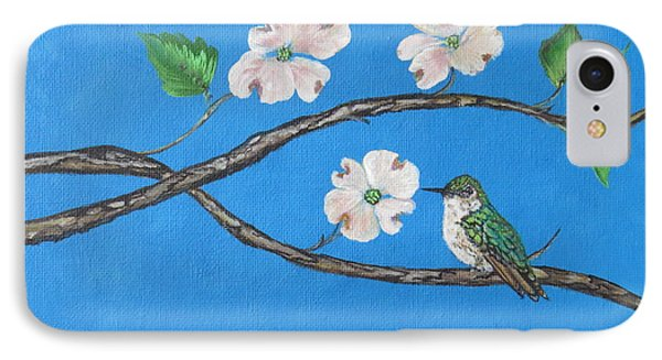 IPhone Case featuring the painting Dogwood And Hummingbird by Ella Kaye Dickey