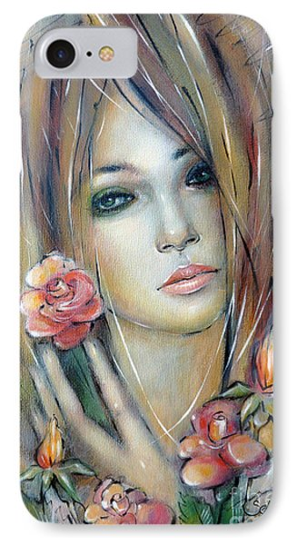 IPhone Case featuring the painting Doll With Roses 010111 by Selena Boron
