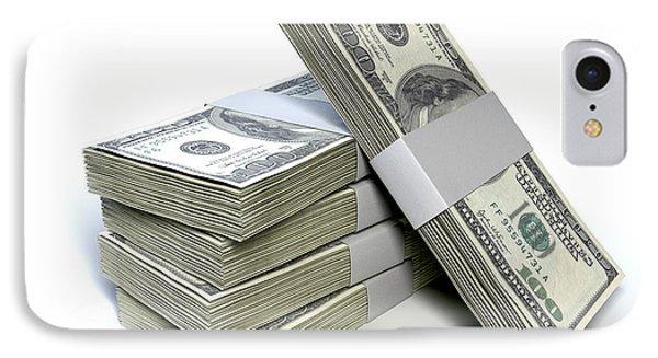 Dollar Bill Bundles Pile  IPhone Case by Allan Swart
