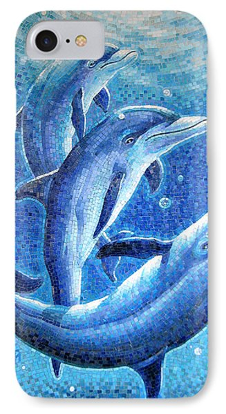 IPhone Case featuring the painting Dolphin Trio by Mia Tavonatti