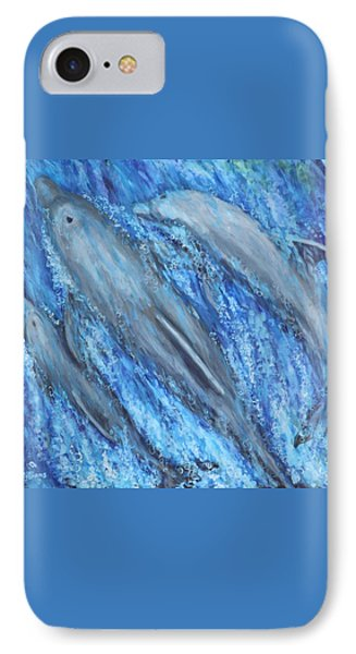 Dolphins At Play IPhone Case by Penny Birch-Williams