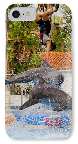 Dolphins Jumping With The Girl IPhone Case