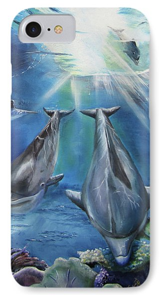 Dolphins Playing IPhone Case by Thomas J Herring