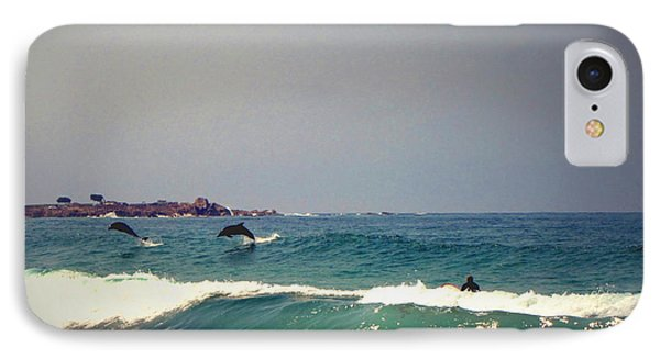 Dolphins Swimming With The Surfers At Asilomar State Beach  IPhone Case