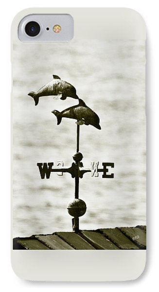 Dolphins Weathervane In Sepia Phone Case by Ben and Raisa Gertsberg