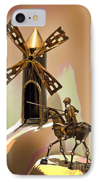 Don Quixote Tilting At Windmills IPhone Case by Al Bourassa