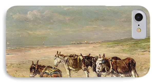 Donkeys On The Beach IPhone Case by Johannes Hubertus Leonardus de Haas