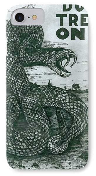 IPhone Case featuring the drawing Don't Tread On Me by Richie Montgomery