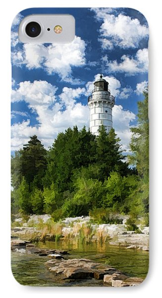 Cana Island Lighthouse Cloudscape In Door County IPhone 7 Case by Christopher Arndt