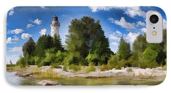 Door County Cana Island Lighthouse Panorama IPhone Case by Christopher Arndt