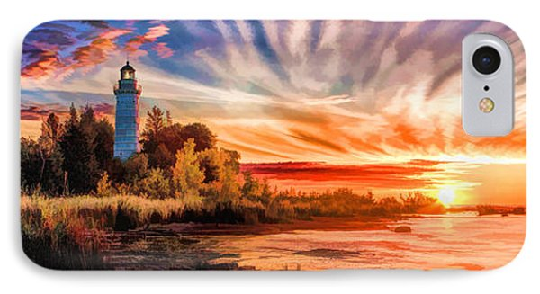 Door County Cana Island Lighthouse Sunrise Panorama IPhone Case by Christopher Arndt