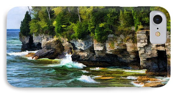 Door County Cave Point Cliffs IPhone Case by Christopher Arndt