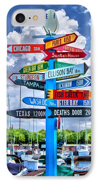 Door County Directional Sign In Egg Harbor IPhone Case by Christopher Arndt