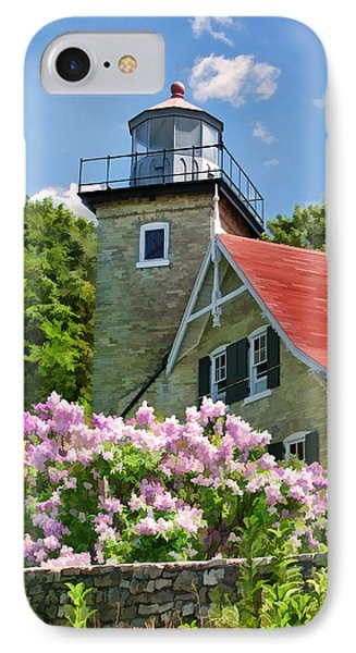 Door County Eagle Bluff Lighthouse Lilacs IPhone 7 Case by Christopher Arndt
